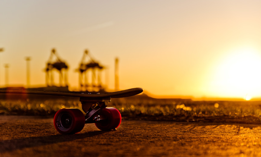 Keep it rollin Longboard Bremerhaven Sunset Sonnenuntergang Harbour Hafen Sky Himmel Desktop Wallpaper Hintergrundbild