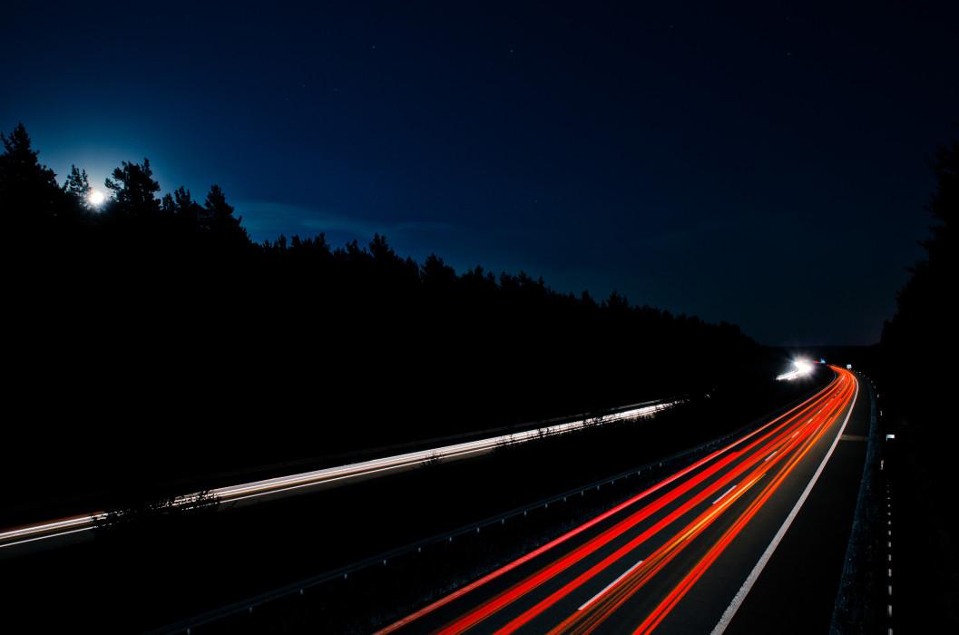 Lunar Traffic Moon Moonlight Mond Mondlicht Autobahn Night Nacht Time exposure Langzeitbelichtung Car Auto