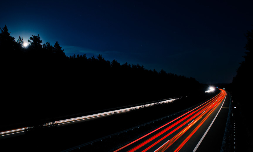 Lunar Traffic Moon Moonlight Mond Mondlicht Autobahn Night Nacht Time exposure Langzeitbelichtung Car Auto