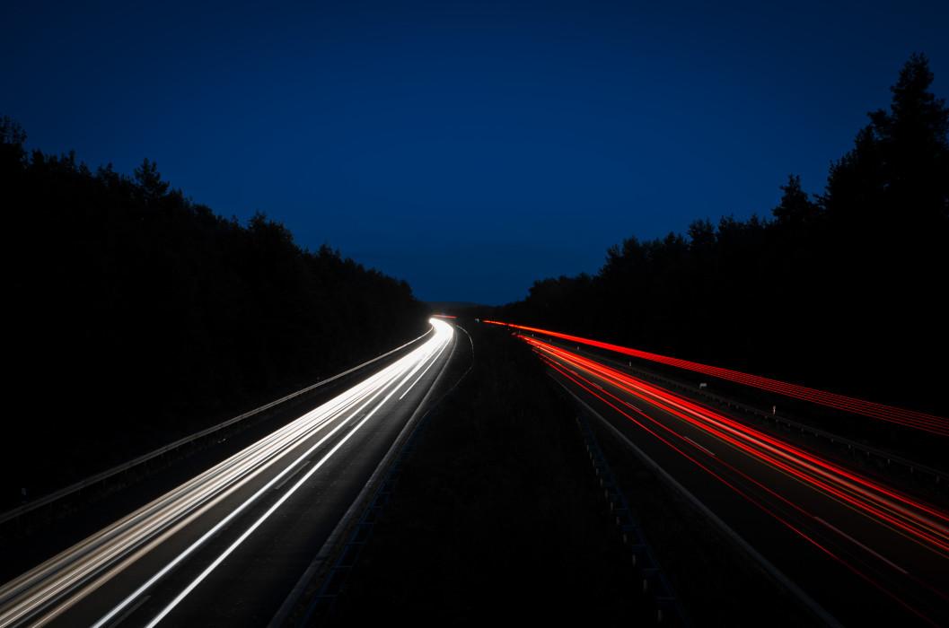 No Stars but Stripes Autobahn Night Nacht Time exposure Langzeitbelichtung Car Auto